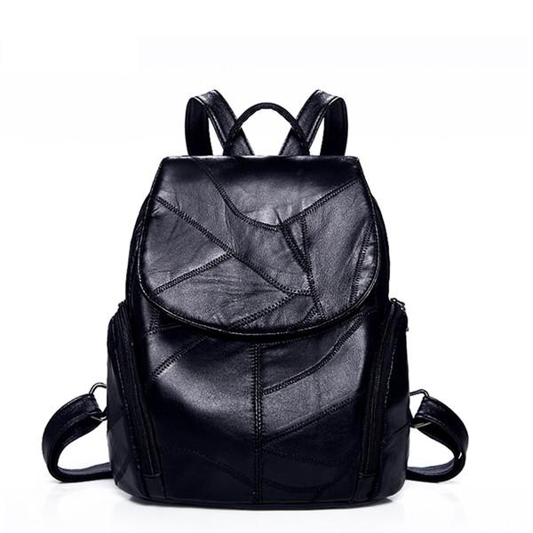 top popular Women Backpack sheepskin Leather Backpack Women new fashion Hotsale School Bags for Teenagers Fashion Backpacks for Teenage Girls 2020