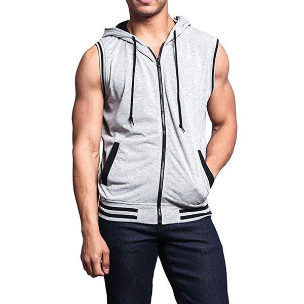 Summer 2019 Fashion Tank Top Men Patchwork Sleeveless Hooded fitness men bodybuilding clothes gym tank tops ropa de hombre