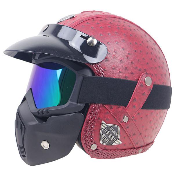 Popular Vintage motorbike helmet Leather motorcycle helmet 3/4 open face with mask design fashion and safety bike