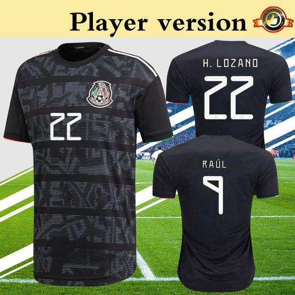 Oyuncu Versiyonu Meksika Jersey 2019 Altın Kupa Futbol Gömlek Siyah LAINEZ CHICHARITO LOZANO Daha 10 adet Ücretsiz DHL Kargo