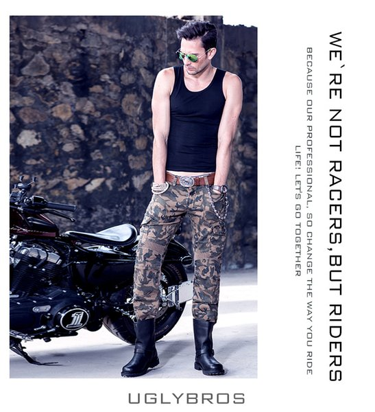 2016 cooluglybros motorpool camo man's jeans camouflage leisure riding a motorcycle pants jeans boy good quality thumbnail