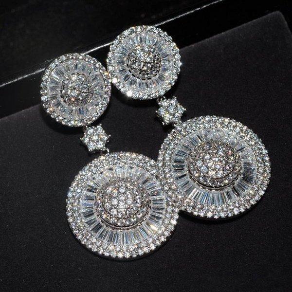 Игристые офис Леди ювелирные изделия мотаться серьги Алмаз белого золота заполнены свадьба падение серьги для женщин