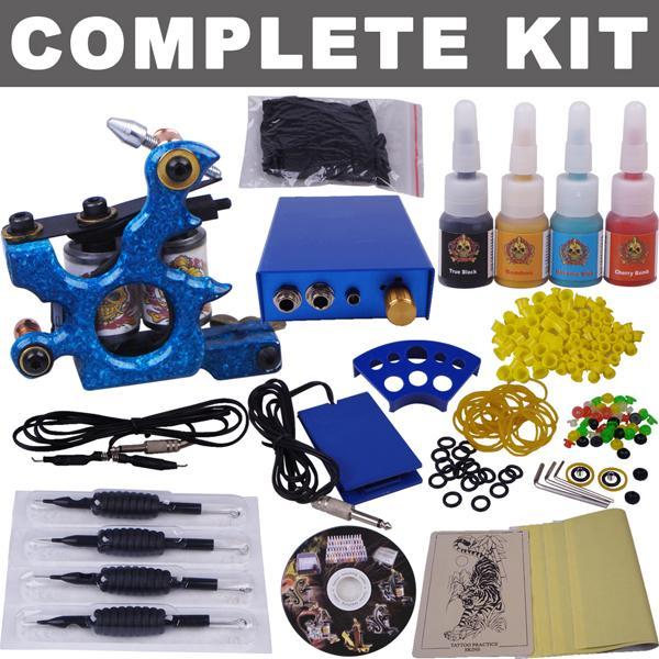 Tatuagem kit máquina completa cores de tinta Needles Led Power Supply aperto Prática Pele Maquiagem Permanente Starter Kit Shading Forro