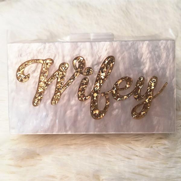 Perla Glitter oro bianco Nome Wifey Lettera acrilico Box frizioni Marca donne spalla sera festa Lady Summer Beach Acrilico borsa