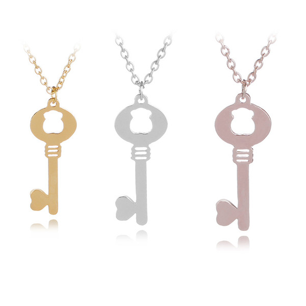 1 Hollow bear love heart key necklace love heart lock unique symbol key necklace love unlocking tool animal key necklace jewelry For lover