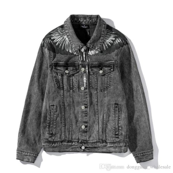 2019fw Marcelo Burlon Contea di Milano goccia Ali stampata delle donne degli uomini rivestimento del denim Hiphop Streetwear Uomo Casual Coat Jacket