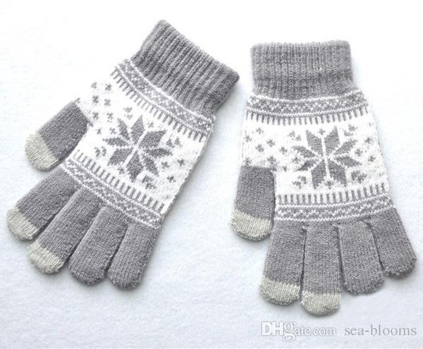 Men Women Winter Warm Jacquard Maple Leaf Pattern Knitted Gloves Student Thickened Touch Screen Gloves 9 Styles Hot Sale H919Q