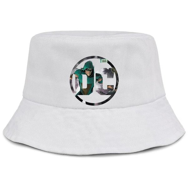 Green Arrow DC comics logo white men fishing bucket sun hat cool retro personalized best original bucket suncap