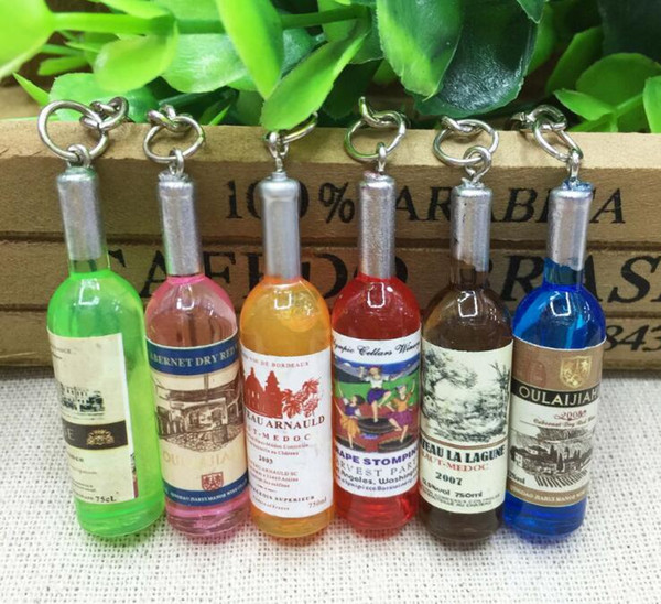 2018 Creative New Mini Red Wine Bottle Keyring Key Ring Keychain for mobile phone, Christmas Gift