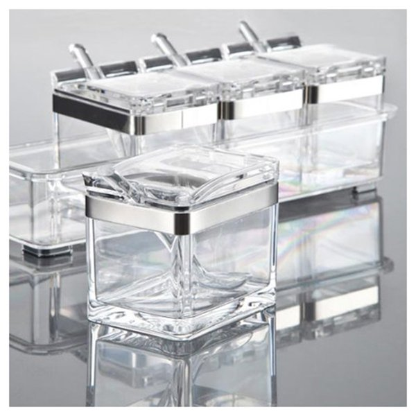 Acrylic Seasoning Box Spice Jar Set Condiment Cruet Bottle Kitchen Supplies