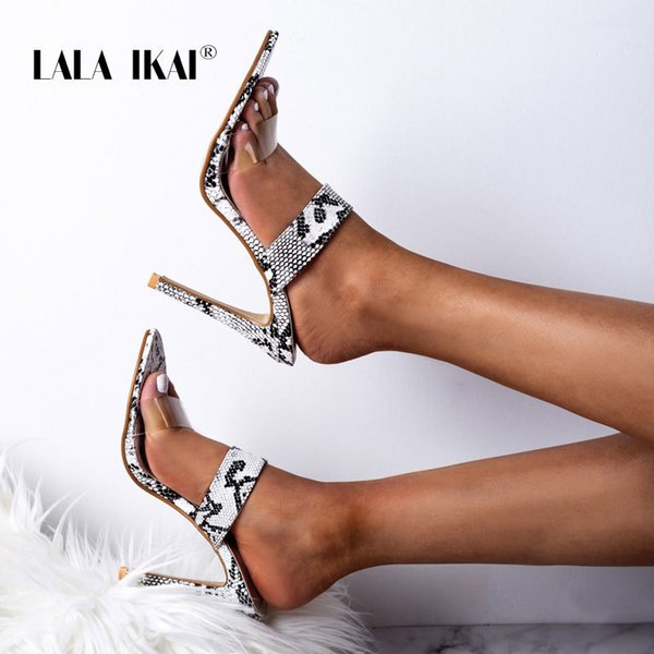 LALA IKAI Woman Snake Pattern Sandals Super High Thin Heels Ladies Summer Slides Outdoor Fashion Party Shoes 900C3333-5