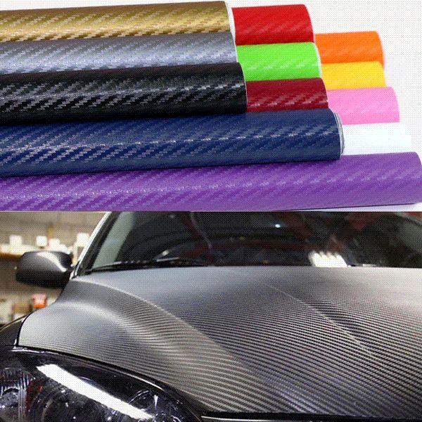 Car Styling Car Sticker 200X50cm 3D 4D Carbon Fiber Vinyl Film 3M Waterproof DIY Motorcycle Auto Accessories Stickers