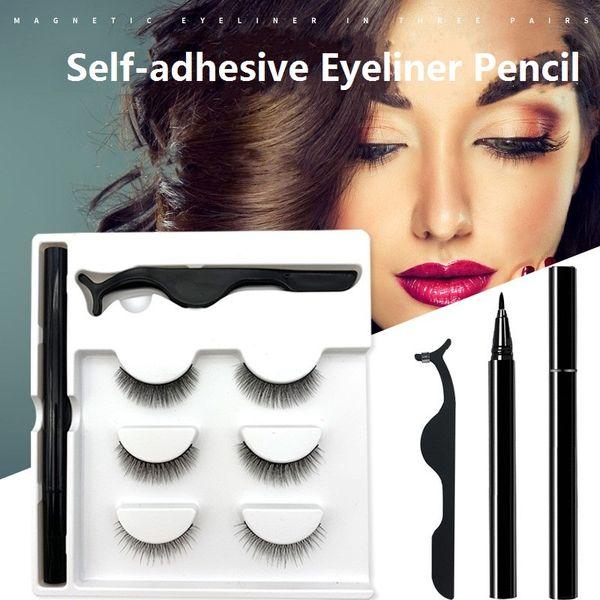 top popular 3 Pairs Set Magic False Eyelash Self-adhesive Lashes Eyeliner Mascara Eyelash Curler Set No Glue No Magnet Makeup Eyelash 2021