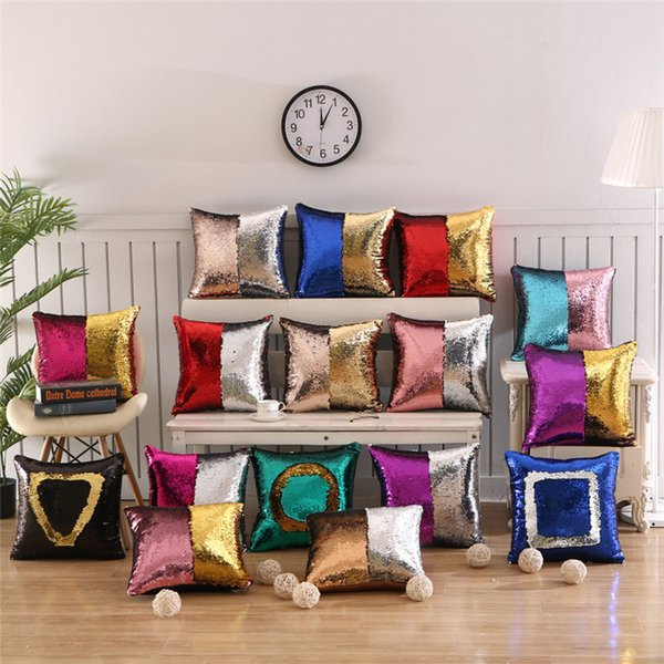 best selling 37 colors sequin pillow case cover mermaid pillow cover glitter reversible sofa magic double reversible swipe cushion cover