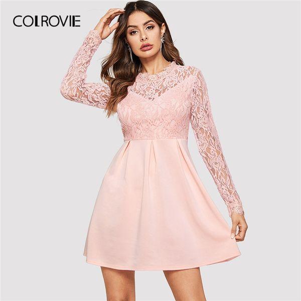 COLROVIE Pink Solid Contrast Lace Party Dress Women Dress 2019 Spring Korean Long Sleeve High Waist Elegant A Line Mini Dresses