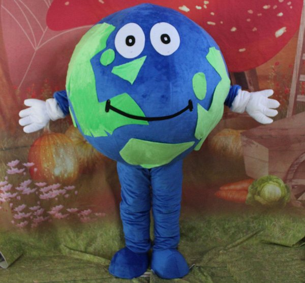 2019 High quality hot green & blue world earth mascot costume for adult to wear
