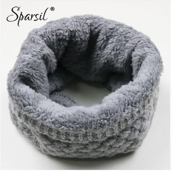 Unisex Winter Warm Knitted Ring Scarves Thick Fleece Inside Super Elastic Knit Mufflers Men Women Children Neck Warmers