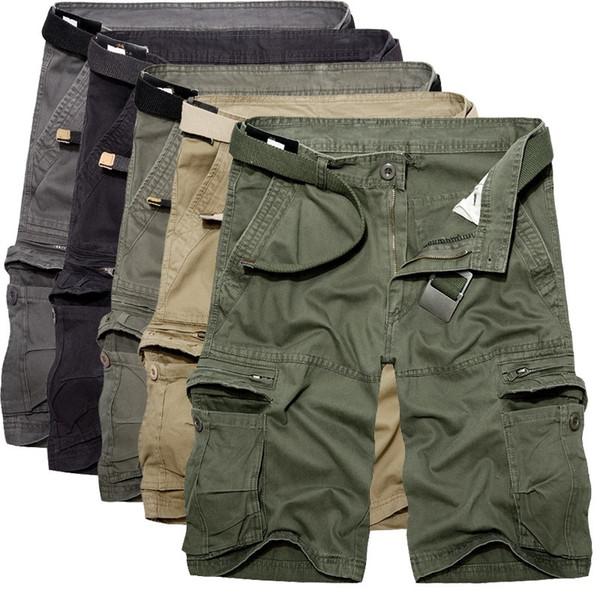 Mens Cargo Pantalones cortos de verano verde militar pantalones cortos de algodón hombres sueltos Multi-bolsillo de pantalones cortos casuales Homme Bermudas Pantalones 40