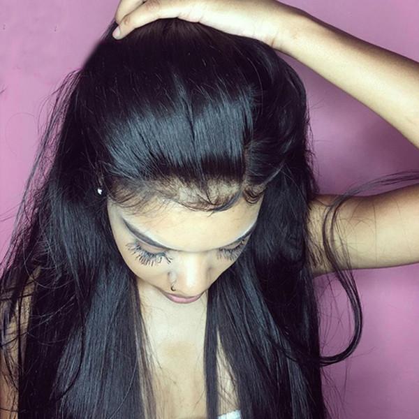Perulu 360 Dantel Frontal Peruk Düz Peruk 360 Dantel Frontal İnsan Saç Siyah Kadınlar Için Peruk Dantel Ön İnsan Saç Peruk + peruk net