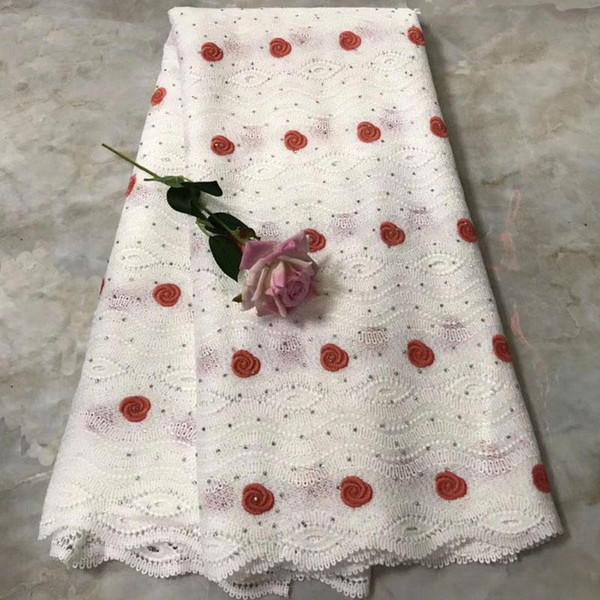 2018 Le plus populaire Africain soluble dans l'eau tissu de dentelle de guipure 5 verges / lot tissu africain de haute qualité de dentelle pour la robe de soirée KJE-04