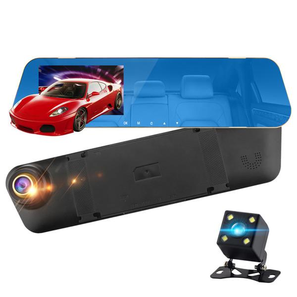 4,3-дюймовый автомобильный 1080P Hd Dvr камера заднего вида зеркало заднего вида двойной двойной записи вождения рекордер автомобильный видеорегистратор
