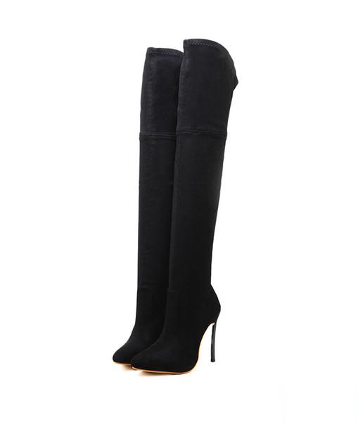 Diz Yüksek Topuklar Ayakkabı Kadın Sapatos D-226 # Üzeri 2019 İlkbahar / Sonbahar Kadınlar Boots Stretch İnce Uyluk Yüksek Boots Moda