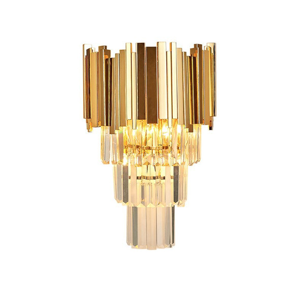 Delin Gold Modern Wall Sconce Light Crystal Wall Luxury Creative Warm Hallway Bedroom Bedside Lamp AC 90-265V