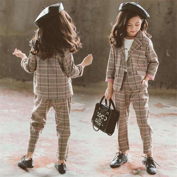 Дети девушки комплект одежды осень девочки-подростки костюм плед куртка брюки Школа Дети спортивный костюм для формальной одежды