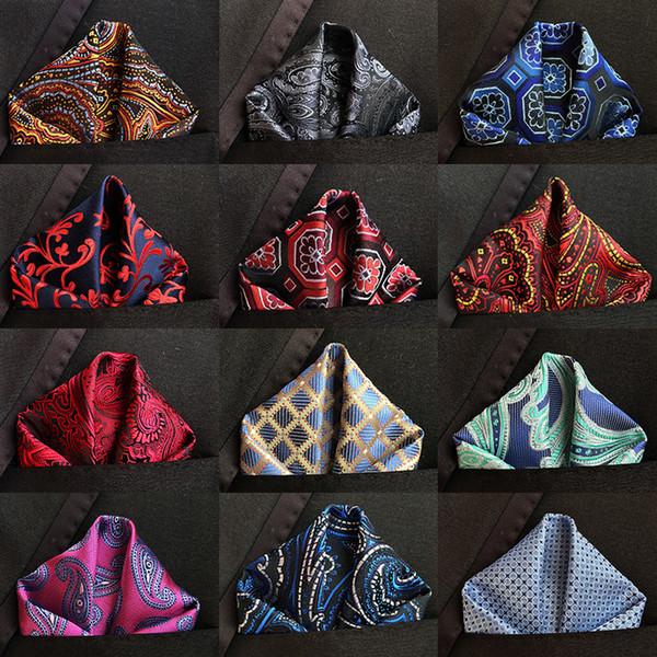 top popular Luxury 25*25cm Men's Vintage Floral Paisley Silk Handkerchief Pocket Square Fashion Men Hanky For Wedding Party Chest Towel C19041301 2021