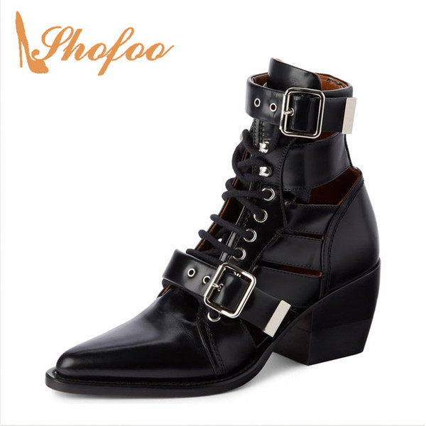 Punk Black Summer Boots Woman High Chunky Heels Pointed Toe Two Buckles Lace Up Large Size 11 15 For Ladies Footwear Fashion