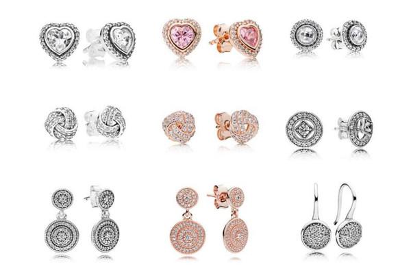 Auténticos pendientes de plata esterlina 925 para mujer Original de joyería fina de plata de oro rosa aptos para pandora pulseras al por mayor