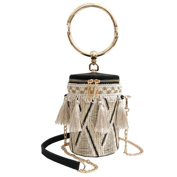 Summer Fashion New Handbag High Quality Straw Bags Women Bag Round Tote Bag Hand Metal Ring Tassel Chain Shoulder Travel Bag