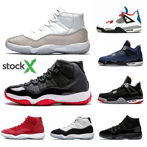 Stock X Bred 11 Mens Basketball Shoes Metallic Silver WMNS 11s Black Red Loyal Blue 4s What The 4 Men Women Sports Sneakers Men Basketball Shoes
