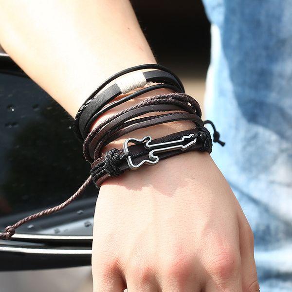 Handmade Bracelet Jewelry Unisex Fashion Simple Vintage Guitar Braid Leather Wrap Multilayer Adjustable Punk Rock Charm Bangle for Women Men