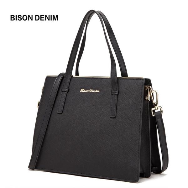 BISON DENIM Genuine Leather Top-handle Bags Women Handbag Black Messenger Bag Luxury Tote Bags Large Capacity Ladies Bag N1360