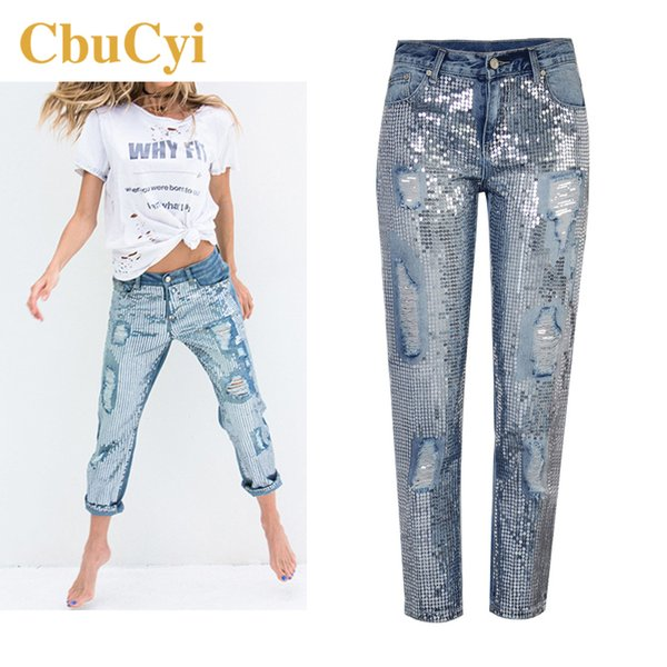 Cbucyi New Fashion Women's Clothing Loose Straight Jeans Sequined Washed Holes Denim Pants Female Casual Cotton Jeans Trousers MX190712