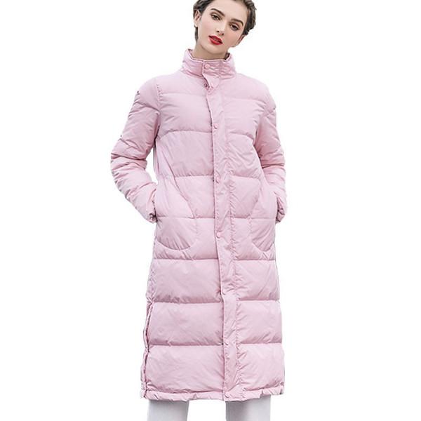 White Duck Down Pink Down Jacket Coat Stand Collar Loose Winter Women Parkas Pocket Long Overknee Snow Outwear Office Lady HJ55