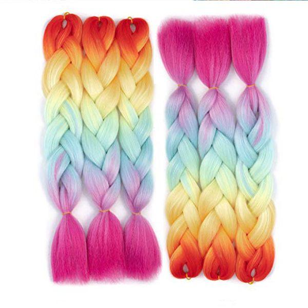 Ombre Quatro Tons Trança Extensões de Cabelo Sintético Kanekalon Jumbo Caixa Trança Rainbow Crochet Trança Bundles Cabelo 5 Pçs / lote