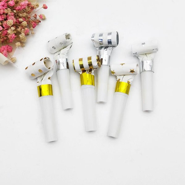 20pcs Foil Gold/Silver Noise makers Star/Dot/Stripe Blowers Whistle Noisemaker Musical Blow Outs for Kids Birthday Party XD22482