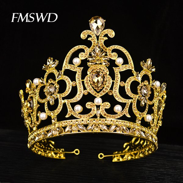 New Vintage Gold Color Luxuy Rhinestone Big Tiara For Bride Wedding Queen Lager Royal Crown Tiaras Hair Jewelry Hair Accessories C18122501
