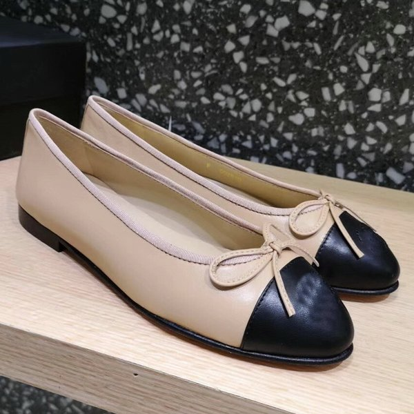 Classic style Beige Black Ballerina Genuine Leathe Women Loafers Many colors Size 34-41 With box Lady Ballet Shoes Flats loafers With Bowtie