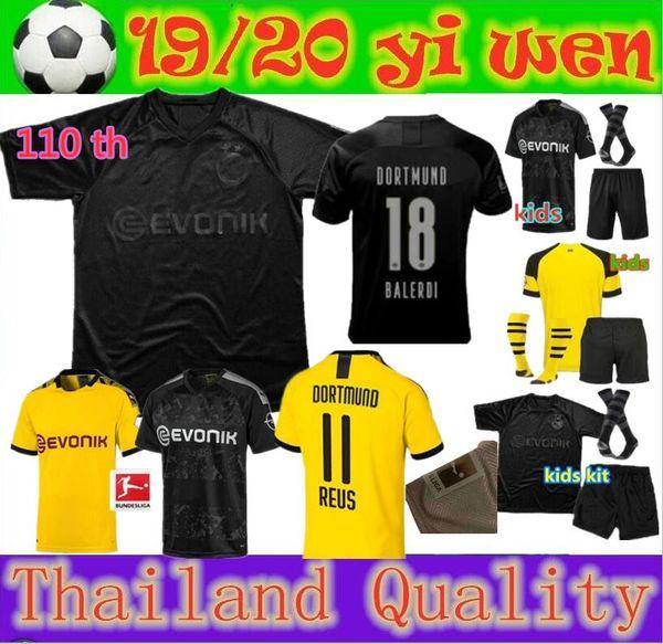 best selling 110th Borussia dortmund soccer jersey HAZARD 2019 2020 football Shirt SANCHO REUS HUMMELS BRANDT PACO DELANEY men + kids kit