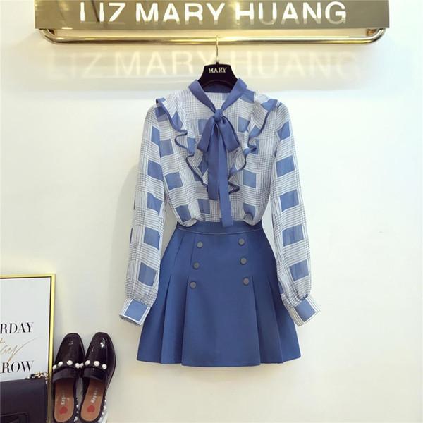 2019 frühling sommer neue elegante bluse anzug weibliche fliege plaid chiffon hemd + faltenrock frauen mini röcke zweiteilige set