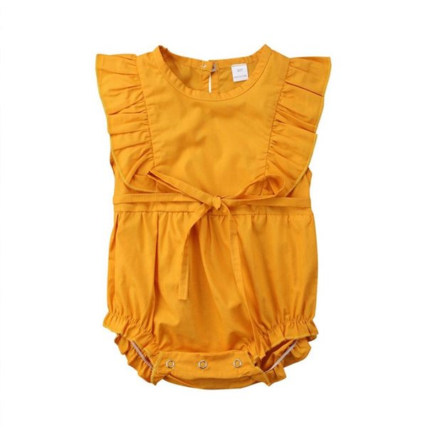 Yellow Baby Girl Romper Sleeveless Newborn Clothes Toddler Romper Summer Tiny Cotton Newborn Baby Girl Jumpsuit for Girl 6-24 Months