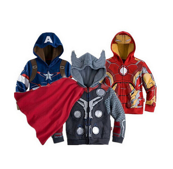 best selling Children Hoodies JACKET BABY Boys Captain America Hoodies Jacket Avengers Hulk thor iron man Superhero cosplay Kids hoodie jacket KKA3910