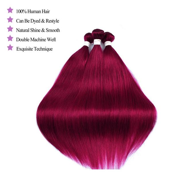 Pérou Human Bundles cheveux avec dentelle Frontal Bourgogne 99J droite Bundles Cheveux Tissages Nonremy