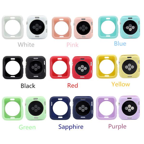 Мягкий силиконовый чехол для Apple Watch серии iWatch 1 2 3 4 Крышка Полная защита Чехол 42mm 38mm 40mm 44mm Band Аксессуары