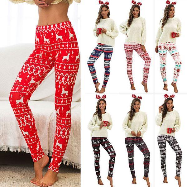 Kadınlar Yeniyıl Geyiği kar tanesi Tozluklar Moda Çiçek Baskı İnce Kalem pantolon Tozluklar Elastik Pantolon giyim DHL WX9-1614