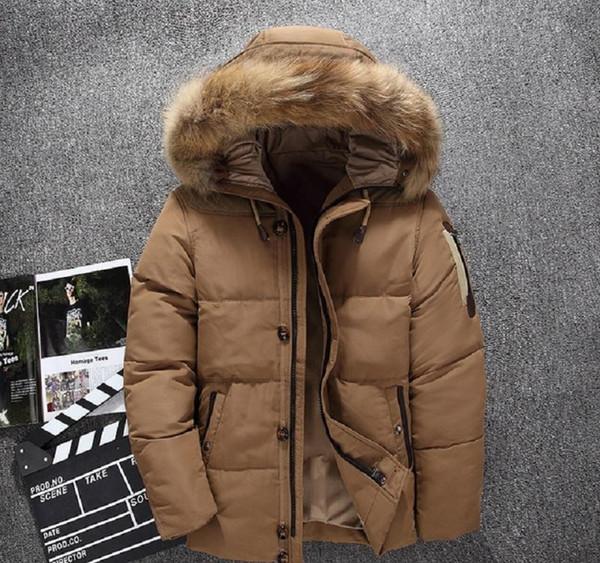 Modo di marca 2018 nuovi uomini s Bianco anatra Piumini calda inverno adatta giù rivestimento del cappotto maschile di felpa cappotto Mens inverno