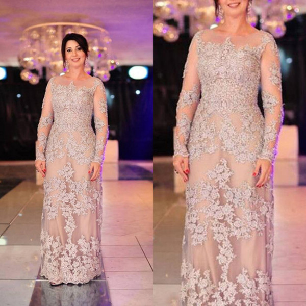champagne plus size lace mother of bride dresses 2018 Long Illusion Jewel Neckline Groom Mom formal evening gowns elegant sheath long sleeve